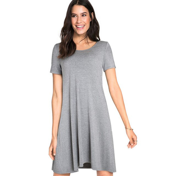 Nice-forever Casual Solid Color with Back Cross Shift Dresses Summer Straight Loose Women Dress A147 - Creative Dreamscape