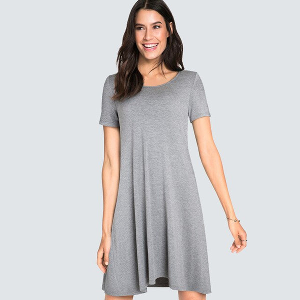 Women Casual Brief Solid Color Loose Dress Short-Sleeve Back Bandage Straight sexy Summer Dress HA147 - Creative Dreamscape