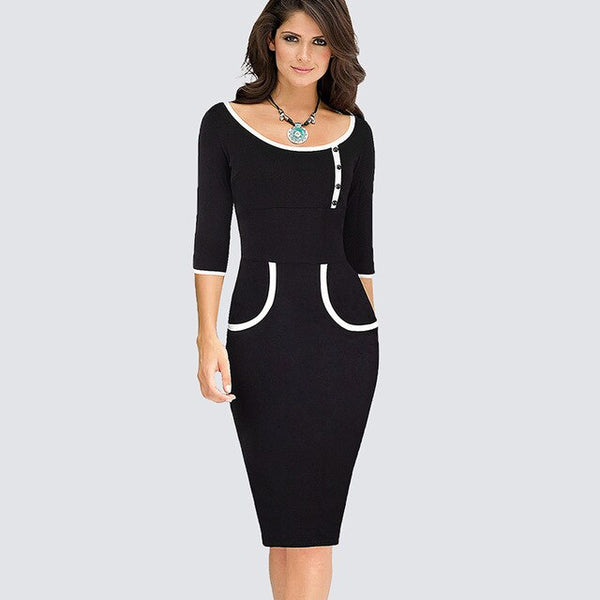 Women Casual Sheath Bodycon Work Pencil Black Dress Formal Patchwork Business Office Dress H623 - Creative Dreamscape