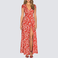 Sexy High Split Bohemian Long Maxi Dress Summer Women Vintage Floral Print Beach Dress HA098 - Creative Dreamscape