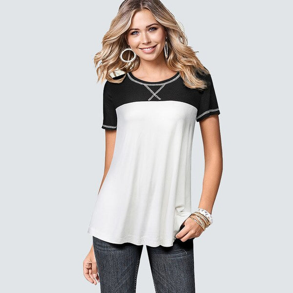 Summer Casual Patchwork Soft T Shirt Fashion Classic Elegant women tops HT049 - Creative Dreamscape