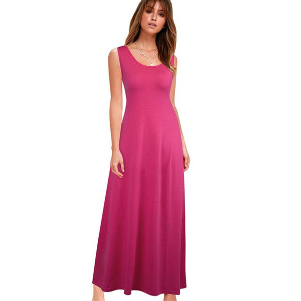 Nice-forever Basic Solid Color Sleeveless Dresses Casual Summer Maxi Women Flared Dress 407 - Creative Dreamscape
