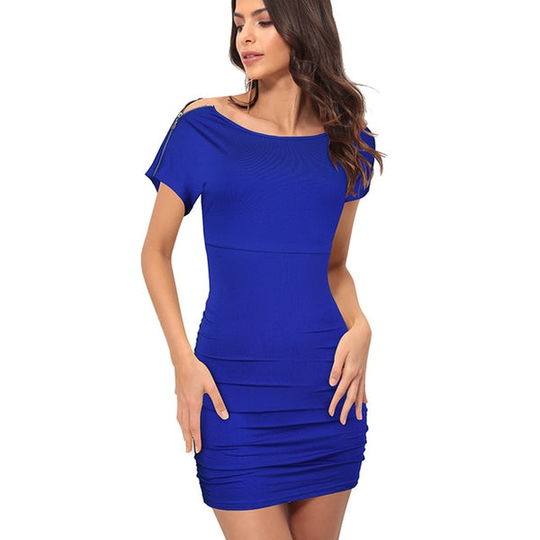 Nice-forever Summer Pure Color Sexy Bandage Dresses Club Wear Fitted Bodycon Women Slim Dress 272 - Creative Dreamscape
