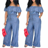 Women Off Shoulder Wide Leg Romper Jumpsuit Casual Long Trouser Overall Pants Ruffle Collar Loose Empire Jumpsuits M-4XL - Creative Dreamscape