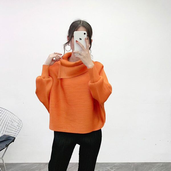 LANMREM 2020 New Scarf Collar Batwing Sleeves Pullover Twice Pleated Thickness Loose autumn Sweatshirt WJ74304 - Creative Dreamscape