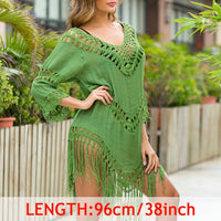 INGAGA Sexy Tassel Cover Ups Tunic Swimsuit 2020 Beach Dress Tropical Hollow Out Beachwear Black Backless Summer Swimwear New - Creative Dreamscape