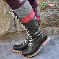Winter Boots for Women Basic Mid Calf Boots Woman Round Toe Zip Platform Boot Female Shoes Warm Lace Up Boots Shoes - Creative Dreamscape