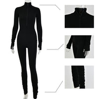 Sibybo Autumn Turtleneck Skinny Casual Jumpsuit Women Long Sleeve Front Zipper Sport Wear Womens Rompers Black Fitness Overalls - Creative Dreamscape