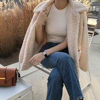 Faux Fur Thick Coat For Women 2020 Autumn Warm Soft Loose Fur Jacket Female Outerwear Button Plush Ladies Casual Winter Overcoat - Creative Dreamscape