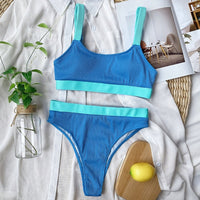 INGAGA High Waist Bikinis 2020 Swimsuits Bandeau Swimwear Women Splicing Biquini Beachwear Sports Ribbed Bathing Suits New - Creative Dreamscape