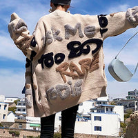 Women Overcoat Beaded Geometric 2020 Autumn Winter Long Sleeves V-Neck Vintage Ladies Outwear Overcoats Retro Chic Female Coats - Creative Dreamscape
