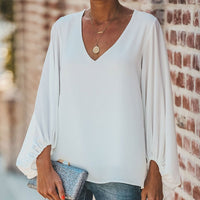 Chiffon Lantern Sleeve Elegant Women Blouse V Neck Solid Loose Female Blouses 2020 Fashion Autumn Ladies Plus Size Top Clothes - Creative Dreamscape