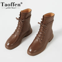 Ankle Boots Women Round Toe Thick Heel Lace Up Genuine Leather Shoes High Quality Cool Shoes Footwear - Creative Dreamscape