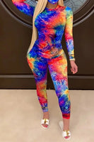 Womens 2 Piece Tie Dye Outfits Summer&Autumn Casual Tops T Shirt & Bodycon Short/Long Pants Tracksuit Workout Sets - Creative Dreamscape