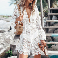 Summer Beach Blouse Women Bikini Tops Lace tunic Hollow Out Crochet Tassel Robe Cover Up Kimono Cardigan Swimsuit - Creative Dreamscape