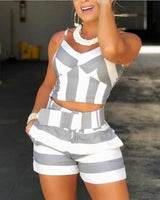 Women Colorblock Striped Cami Tops & Shorts Sets Ladies Casual 2 Piece Set Spaghetti Strap V-Neck Tops and Short Pants - Creative Dreamscape