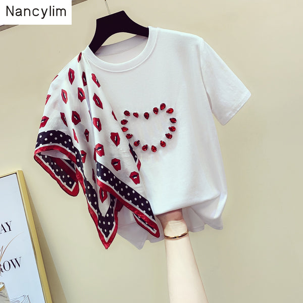 Summer Girls Ladies New Loose Love Print Scarf Beaded Short Sleeve T-Shirt for Students White Tees Tops Female Clothes - Creative Dreamscape