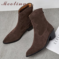 Meotina Real Leather Cow Suede High Heel Ankle Boots Women Shoes Pointed Toe Thick Heel Zipper Short Boots Ladies Autumn Winter - Creative Dreamscape