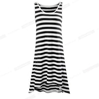 Nice-forever Summer Women Irregular Hem Stripes Beach Dresses Loose Shift Casual Dress - Creative Dreamscape