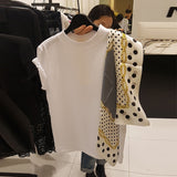 Yocalor 2019 Summer Polka Dot Scarf Patchwork Women Top New Fashion O-Neck Short Sleeve Tees Korean Chic Loose T Shirts - Creative Dreamscape