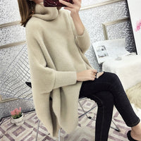 Imitated Mink Wool Loose Knitted Bat Shirt Turtleneck Cape Sweater Female Korean Temperament Autumn Winter Solid Color Pullover - Creative Dreamscape