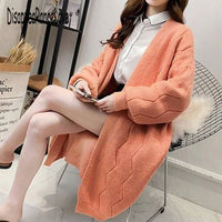 2019 Elegant Loose Knit Woolen Cardigan Sweater Long Sleeve Warm Solid Color Women Casual Coats Chic Sweaters Outerwear Elastic - Creative Dreamscape