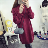 Autumn And Winter New Style Korean-style-Style Loose Base Sweater Mid-length Thick Lazy Wind Turtle-Neck Head Band Sweater Women - Creative Dreamscape