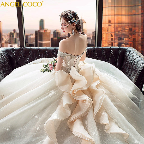 Gorgeous Champagne Gold Bridal Gown 3D Flowers Beading Ball Gown Lace Wedding Dress Vestidos De Noivas Real Photos Suknia Slubna - Creative Dreamscape