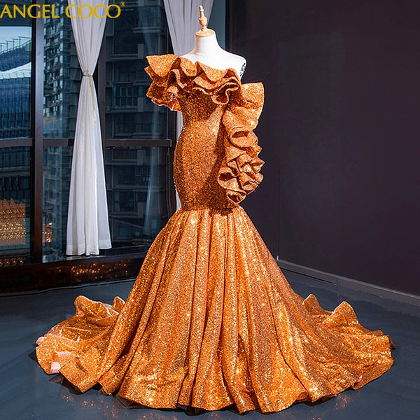 Golden Sparkle Glitter Sequined Evening Dresses Long Mermaid Dubai Abaya Saudi Arabia Formal Prom Gown Robe de Soiree Plus Size - Creative Dreamscape