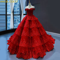 Red Wedding Bride Dress 2020 Ball Gown Luxury Wedding Party Dress Female Temperament Cake Layer Vestido De Noche Saudi Arabia - Creative Dreamscape