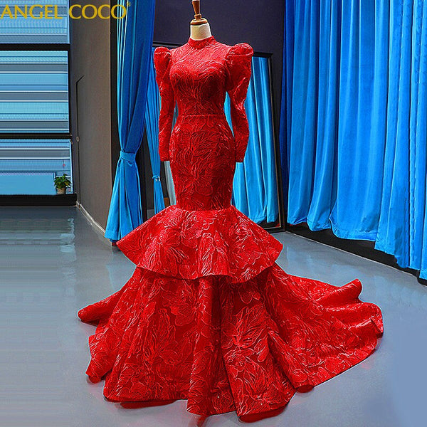 Red Mermaid Evening Dresses Dubai Saudi Arabic O-neck Long Sleeves Muslim Evening Gown Prom Dresses Robe Soiree Abendkleider - Creative Dreamscape