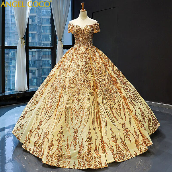 Extremely High end Luxury Arabic Golden Evening Dresses Heavy Beading Shiny sequins Saudi Arabia Dubai Evening Gown Prom Dresses - Creative Dreamscape