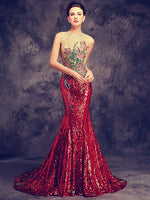 Luxury Sequins Beading Crystal Mermaid Evening Dress Custom Made Elegant Blue red Formal Evening Gowns 2020 Robes Real Photo - Creative Dreamscape