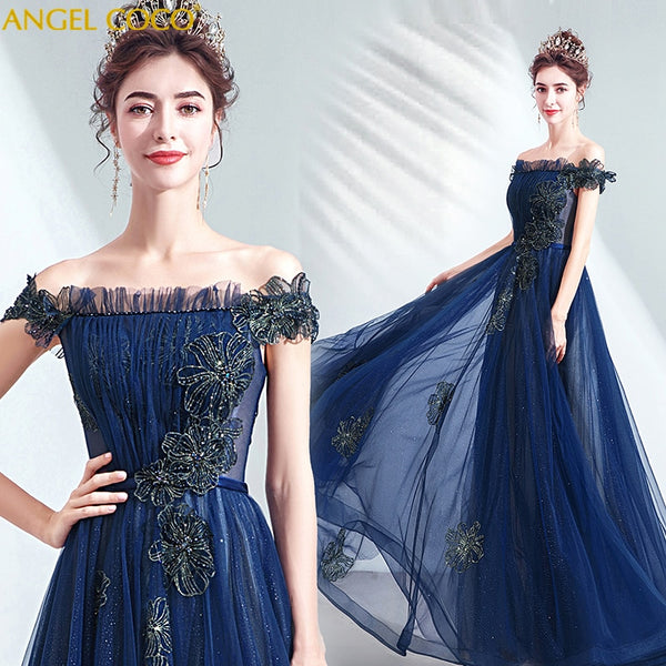 Formal Evening Gown for Women 2020 Evening Dress Long Royal Blue Party Gowns Dress Lace Up Back robe soiree Abiti Da Cerimonia - Creative Dreamscape