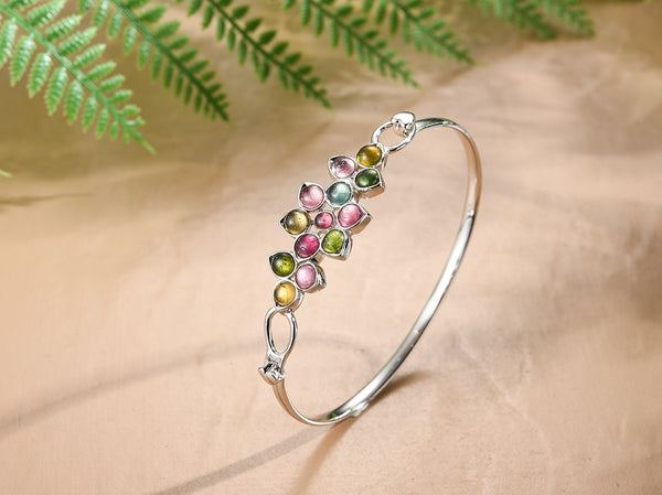 Gorgeous Sterling Silver Natural Tourmaline Gemstones Multicolor Flower Bangle - Creative Dreamscape