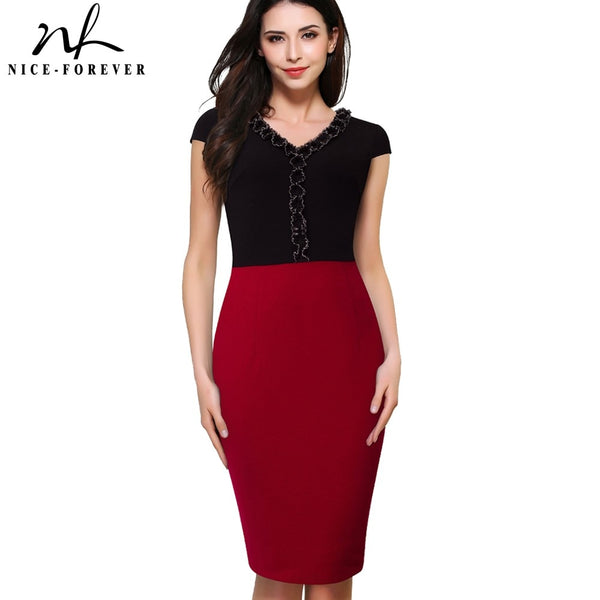 Nice-forever Summer Women Vinatge Contrast Color Patchwork Office Business Dresses Bodycon Sheath Fitted Dress - Creative Dreamscape