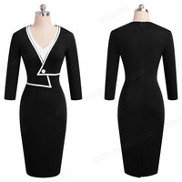 Nice-forever Winter Women Elegant Contrast Color Patchwork Dresses Business Office Bodycon Fitted Pencil Dress - Creative Dreamscape