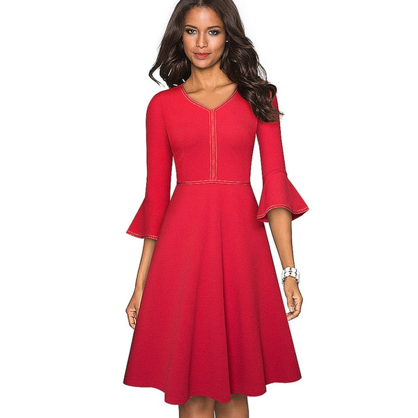 Nice-forever Autumn Elegant Pure Color with Flared Sleeve Dresses Cocktail Party Women Swing A-line Dress A221 - Creative Dreamscape