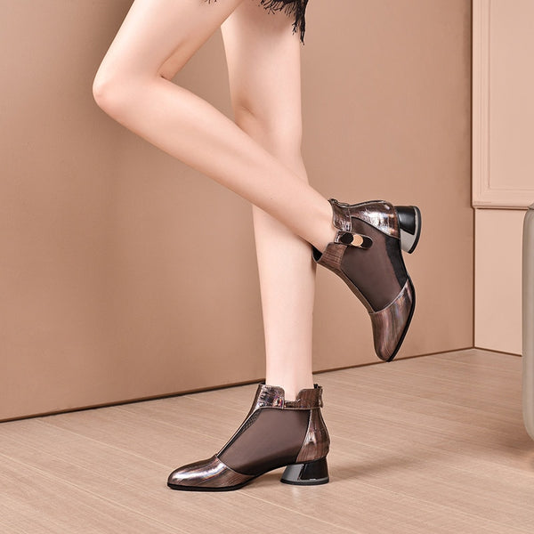 Back Zipper Genuine Leather Women Shoes - Creative Dreamscape