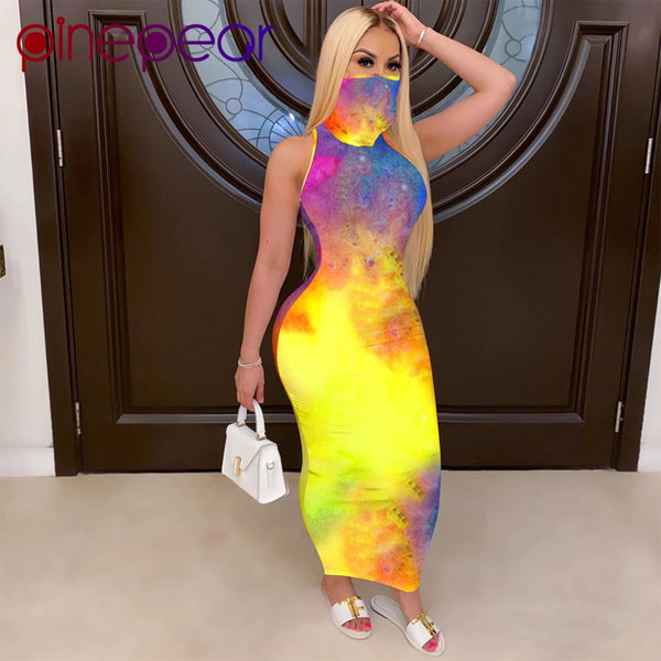 Plus Size Tie Dye Print Slim Fit Dress with Mask - Creative Dreamscape
