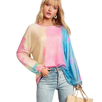 Nice-forever Winter Women Chic tie-dyed Knitted Sweater Casual Loose Oversize Pullover Sweatshirt - Creative Dreamscape