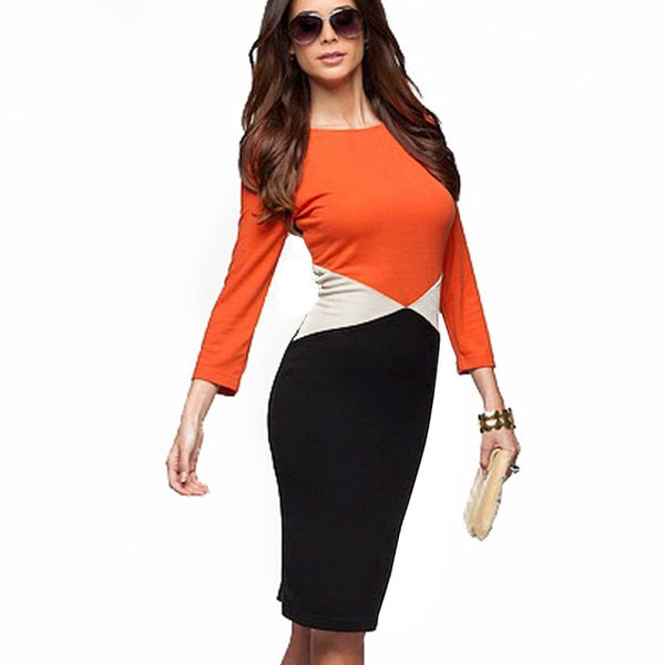Nice-forever Autumn Women Chic Contrast Color Patchwork Dresses Business Office Bodycon Sheath Slim Dress - Creative Dreamscape