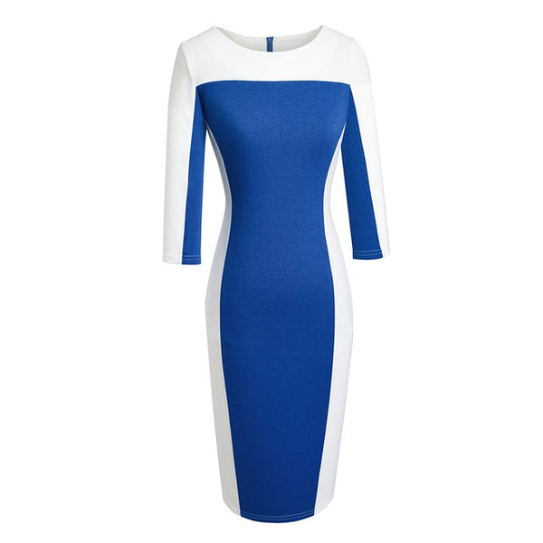 Nice-forever Autumn Women Vintage Contrast Color Patchwork Dresses Business Office Bodycon Fitted Slim Dress - Creative Dreamscape