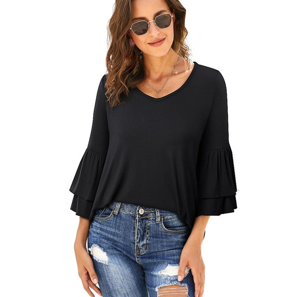 Nice-Forever Winter Women Pure Color Chic Flared Sleeve Casual T-Shirts Loose Female Tees Tops - Creative Dreamscape
