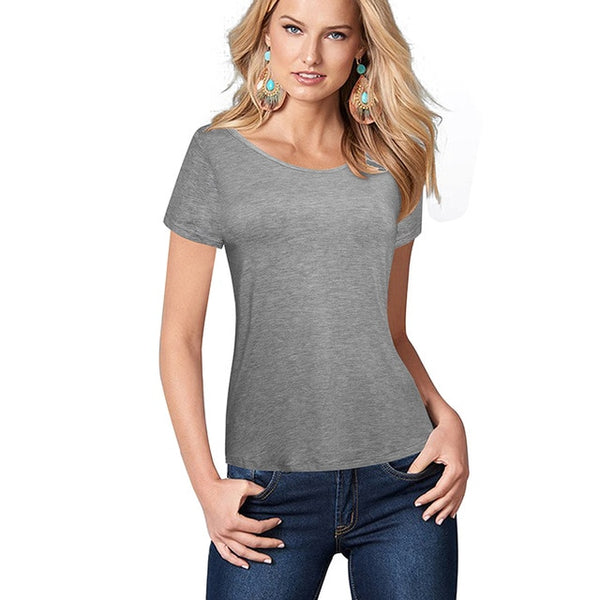 Nice-forever Summer Women Solid Gray Color Causal T-shirts Cool Loose Tees Tops - Creative Dreamscape