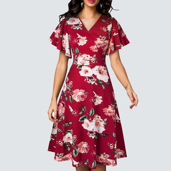 Summer V- neck Ruffle Sleeve Casual Floral Printed Vintage Party Flare A- Line Dress - Creative Dreamscape