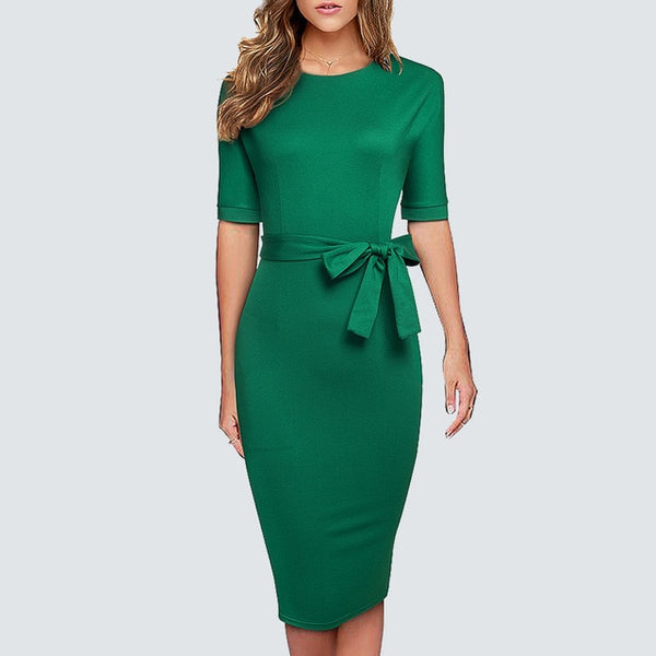Women Elegant Solid Color Classic O Neck Bow Office Lady Fashion Bodycon Pencil Dress - Creative Dreamscape