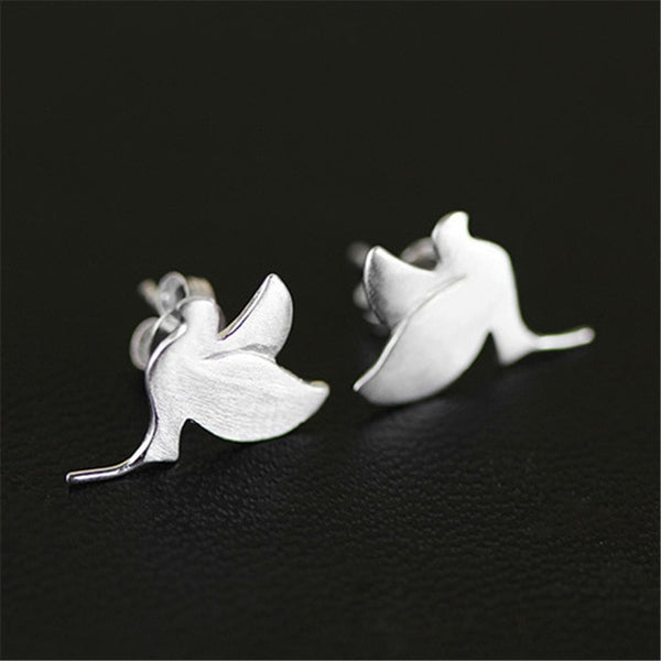 Sterling Silver Handmade Cute Peace Dove Stud Earrings - Creative Dreamscape