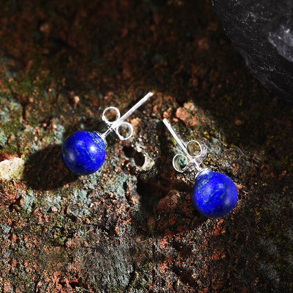 Sterling Silver Natural blue stone Creative Fashion Jewelry Vintage Fashion Stud Earrings for Women - Creative Dreamscape