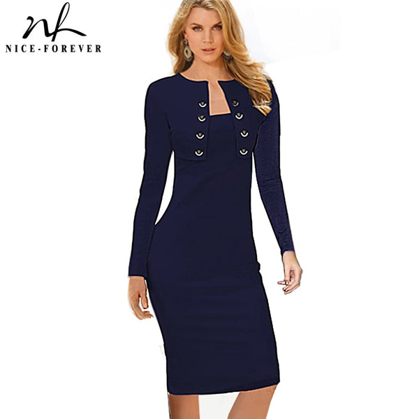 Nice-forever Winter Long Sleeve Buttons office Business Dress Elegant Plus Size Women Vintage Pinup Bodycon Pencil Dress b10 - Creative Dreamscape